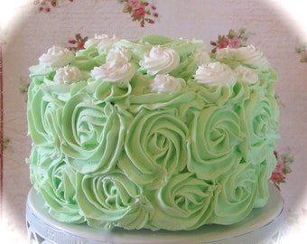 """Fake Rosette Cake Your Choice 1 Rosette Frosting Color w/White Swirls & Topper Approx. 6.75""""w x 4""""h Fab Photo Prop, First Birthday Decor"""