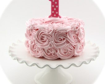"""Fake Rosette Cake Your Choice One Rosette Frosting Color & Candle Approx. 6.75""""w x 4""""h Fab Photo Prop, First Birthday Decor"""