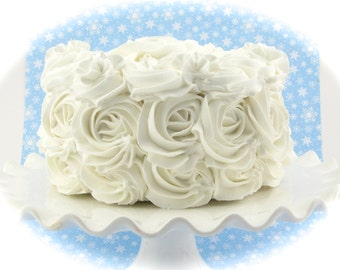 """Rosette Fake Cake White Frosting Approx. 6.75""""w x 4""""h Fab Photo Prop, First Birthday Decor, Shabby Chic Decor for your Kitchen"""