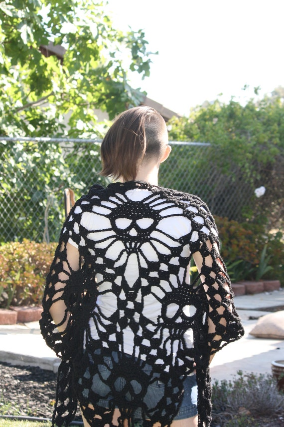 Crochet Pattern For Skull Shawl : Items similar to Skull Shawl - Crochet Skull Shawl - Skull ...