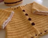 Honey Bear Sweater and Hat Set