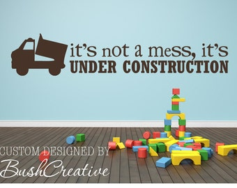 Wall Decal boys room Under Construction- dump truck large 002-60