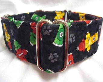 Black, Yellow, Green Red Fire Hydrant Greyhound Whippet Galgo Martingale Collar