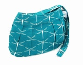 Organic Handmade Little Sophisticate Cross Body Sling Purse - Teal Dragonfly - Free Shipping