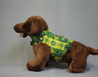HARNESS PET CLOTHES John Deere Yellow and Green Print  Shirt