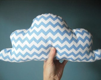 Chevron cloud pillow - made to order  yellow, blue, grey