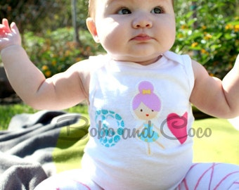 Peace Love and BALLET Ballerina Baby Girls Bodysuit 0-24 Months