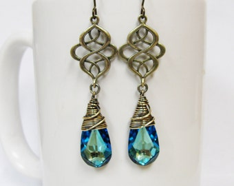 Bermuda Blue Swarovski Crystal Celtic Knot Earrings in Brass