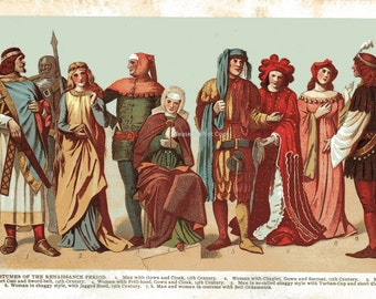 1904 COSTUMES of the Renaissance Period Book Print Illustration