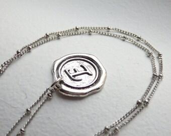 Antique Silver Wax Seal - E - Monogram Necklace