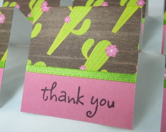 Cactus with Pink Flowers Mini Thank You Cards 2x2 (6)