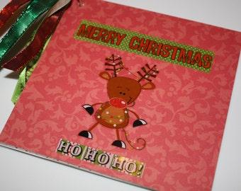 SALE! Cute Christmas Scrapbook Mini Photo Album, Reindeer