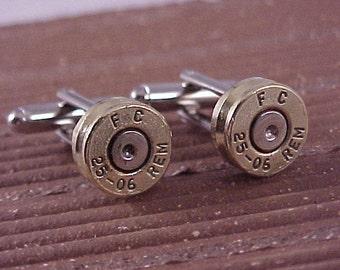Bullet Cufflinks / Remington 25-06 Brass Rifle Shell Cuff Links / Sportsmen Cufflinks / Fathers Day Gift / Gifts For Men / Bullet Cuff Links