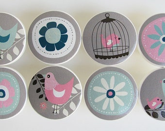 Pink, Gray and Turquoise Bird Knobs, Pretty Girl's Birdcage Drawer Knobs- Wood Knobs- 1 1/2 Inches - Made-to-Order