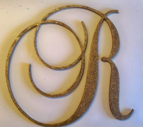 24 large gold glitter wooden wall letters monogram With large wooden glitter letters