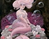 Pink and Pearls mermaid - 11x14 print