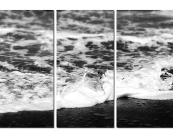 Beach Tide in Black & White Canvas Triptych, 3 Panel Fine Art, LARGE, Ready to Hang