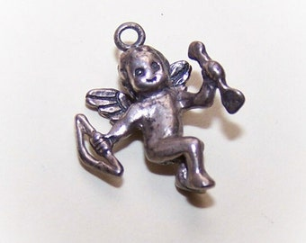 Sweet Vintage STERLING SILVER Charm - Cupid with Bow & Arrow.....