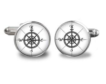 Modern Compass Cuff links - keepsake gift for groomsmen, fathers day, men cuff links, groom  Cuff links,black and white  Compass Cuff links