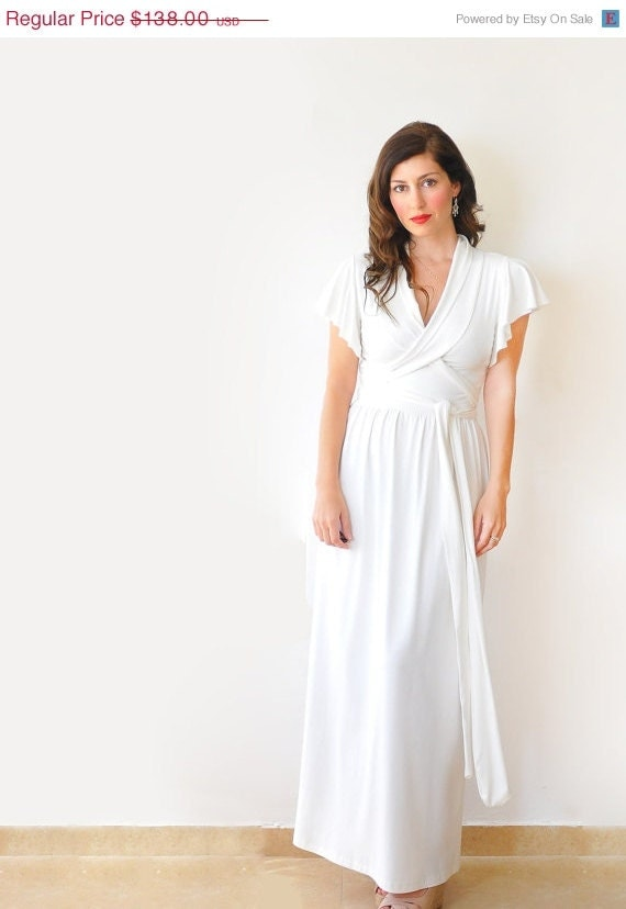 Creamy white maxi dress simple casual alternative by lirola for Black friday wedding dresses