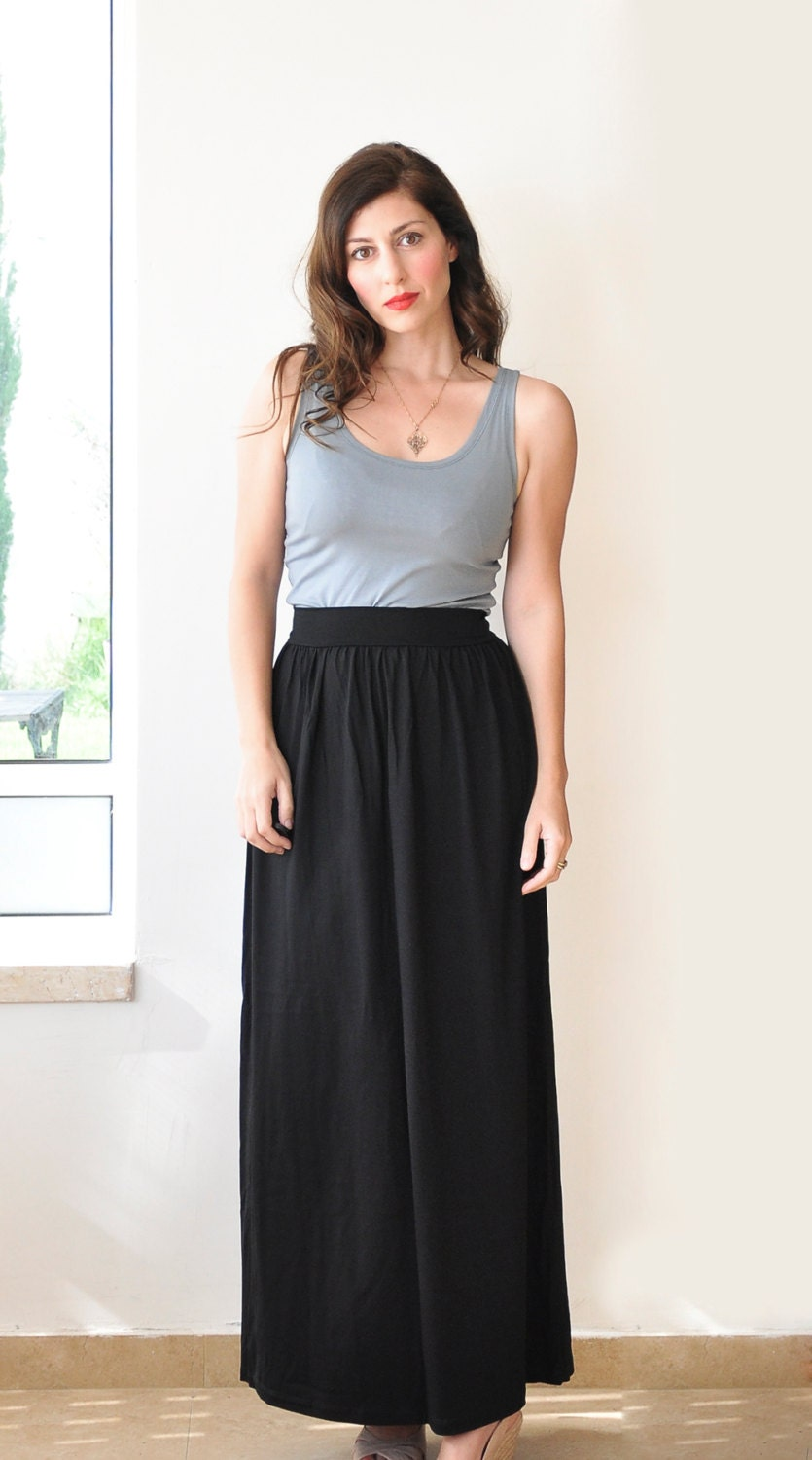 items similar to black skirt high waisted maxi skirt