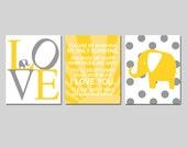 You Are My Sunshine Elephant Love Nursery Art - Set of Three 8x10 Prints - Polka Dot Elephant - CHOOSE YOUR COLORS