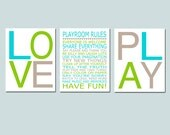 Playroom Rules, Love, Play - Set of Three 11x14 Typography Prints - Kids Wall Art for Nursery - Choose Your Colors