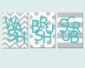 Kids Bathroom Wall Art Print Set - Pick THREE 5x7 Prints - Wash, Brush, Soak, Splish, Splash, Flush, Scrub - Choose Your Colors