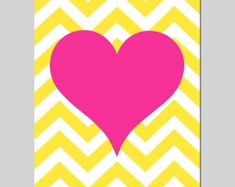 Chevron Heart Baby Girl Nursery Decor Art - 11x14 Print - Modern Nursery, Kids Wall Art, Teen, Tween, Girl - CHOOSE YOUR COLORS