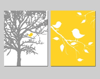 Baby Birds Nursery Decor Nursery Art - Birds in a Tree - Set of Two 8x10 Prints - CHOOSE YOUR COLORS - Shown in Yellow, Gray and More