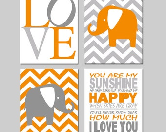 Elephant Nursery Art - Set of Four 8x10 Prints - You Are My Sunshine, Chevron Elephants, Love - CHOOSE YOUR COLORS - Shown in Orange, Gray