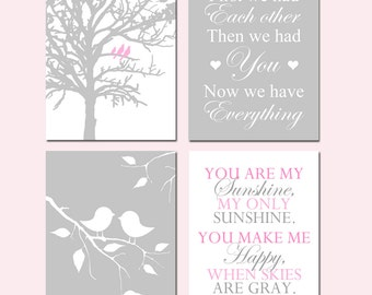 Baby Girl Nursery Art - Birds in a Tree, First We Had Each Other, Baby Birds on a Branch, You Are My Sunshine - Set of Four 8x10 Prints
