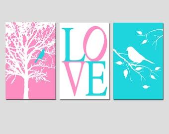 Modern Bird Love Girl Nursery Art Trio - Set of Three 11x17 Prints - CHOOSE YOUR COLORS - Shown in Pink and Aqua
