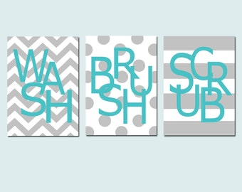Kids Bathroom Wall Art Print Set - Pick THREE 5x7 Prints - Wash, Brush, Soak, Splish, Splash, Flush, Scrub - Choose Your Colors