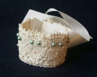 Beaded Lace and Satin Bridal Bracelet or Cuff with Blue and Ivory Pearls Ready to ship