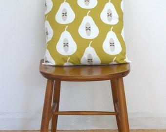 Mustard Pear Print Cushion Cover Pillow Sham
