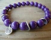 Spiritual Yoga Stretch Bracelet - Purple Mountain Jade with Silver Beads and Charm Gemstone Stacking Bracelet