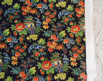 Flowery CHINESE PAGODA Cotton FABRIC Boho Colors on Black Pink Roses, Blue Scrolls, Gold Outlines, Green Leaves, Pillow, Purse, Andover 1 yd