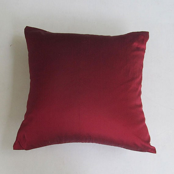 Red Silk Decorative Pillows : maroon silk throw pillow cover. Red decorative pillow Deep red