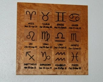 Astrology Zodiac chart - Wood carved, hand painted - 13081