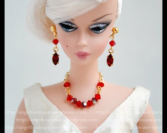 Red Collar Necklace links with Swarovski Crystal. Set Complete with Matching Crystal Earrings.