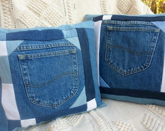 "Blue Jean Pillow Covers Denim Patchwork Set of 2 Upcycled Jeans Fully Lined Blue White Jeans Pocket Pillow Covers 14"" x 15"" Blue White Jean"