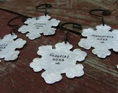 Set of Six Family Keepsake Commemorative Year Hand Stamped Hand Hammered Snowflake Christmas Tree Ornament by MyBella