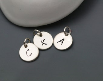 Hand Stamped Sterling Silver Personalized Initial or Number Charm