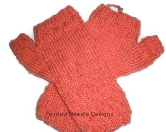 Mittens - Hand Knit Light Orange Acrylic Fingerless Mittens
