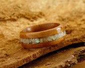 Bentwood Ring Brazilian Cherry with crushed Mother of Pearl Inlay