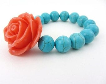 Coral Rose with Turquoise Beads Stretch Bracelet