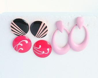 PINK 1980s Earrings Lot Pierced Vintage 3 Pairs Retro Pink Metal Earrings Destash