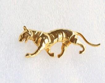 Vintage Gold Panther Brooch Vintage Walking Cat Figural Pin