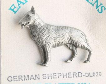 Vintage German Shepard Dog Figural Pewter Tie Tac Pin Brooch